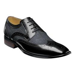 Men's Stacy Adams Kemper Wingtip Oxford 25191 Black Multi Buffalo Leather/Linen