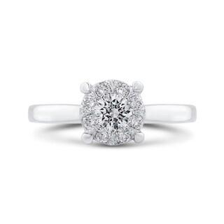 14k White Gold 1 2ct TDW Diamond Cluster Solitaire Ring I J I1