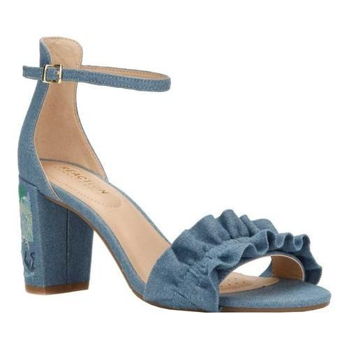 a765a19cead Shop Women s Kenneth Cole Reaction Rise Ruffle Heeled Sandal Blue Denim -  Free Shipping Today - Overstock - 20187231