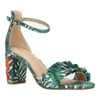 Women's Kenneth Cole Reaction Rise Ruffle Heeled Sandal Green Multi Printed Fabric