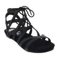 Women's Bellini Nickel Lace Up Gladiator Sandal Black Polyurethane