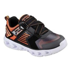 Boys' Skechers S Lights Hypno-Flash 2.0 Rapid Quake Z Strap Shoe Charcoal/Orange