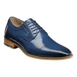Men's Stacy Adams Sanborn Cap Toe Oxford 25156 Cobalt Buffalo Leather