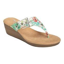 Women's Aerosoles Flower Thong Sandal White Floral Microfiber