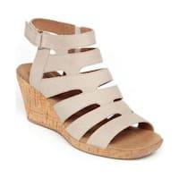 Women's Rockport Briah Banded Gladiator Sandal Dove Full Grain Leather