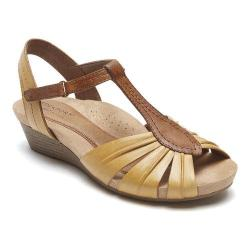 Women's Rockport Cobb Hill Hollywood Pleated T Strap Sandal Amber Yellow Full Grain Leather