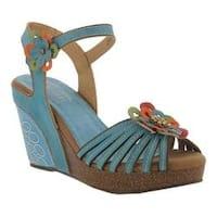 Women's L'Artiste by Spring Step Honiepie Wedge Sandal Sky Blue Leather