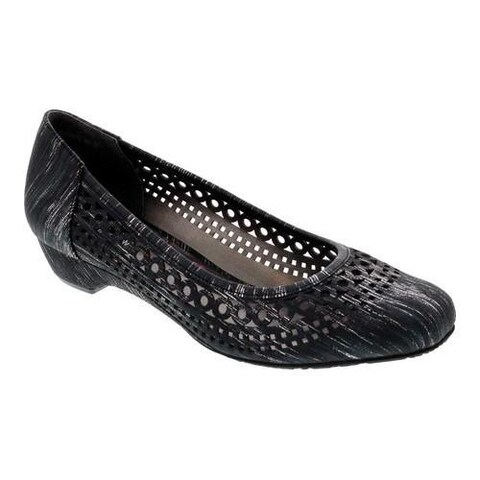Women's Ros Hommerson Tina Flat Black Laser Stripe Fabric
