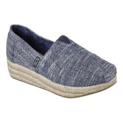 Women's Skechers BOBS Highlights Sand Sparkle Wedge Espadrille Navy