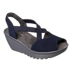 Women's Skechers Parallel Piazza Slingback Wedge Sandal Navy