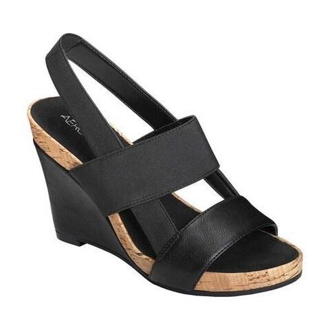 Women's Aerosoles Magnolia Plush Slingback Sandal Black Faux Leather/Elastic