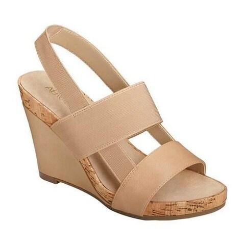 Women's Aerosoles Magnolia Plush Slingback Sandal Light Tan Faux Leather/Elastic