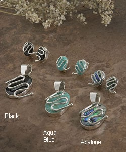Sterling Silver Oval Stone Pendant and Earring Set (Mexico)