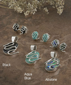 Handmade Sterling Silver Oval Stone Pendant and Earring Set (Mexico)