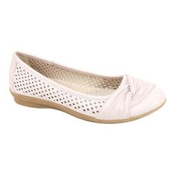 Women's Cliffs by White Mountain Harlyn Perforated Flat Pale Pink Burnished Smooth Polyurethane