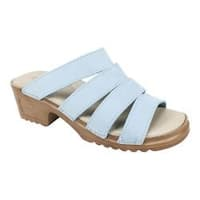 Women's White Mountain Hartley Slide Sandal Light Blue Nubuck