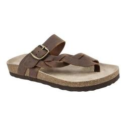 Women's White Mountain Honor Thong Sandal Brown Leather
