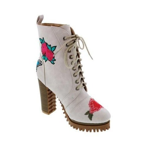 Women's Penny Loves Kenny Frank Floral Patch Combat Boot White Distressed Faux Leather