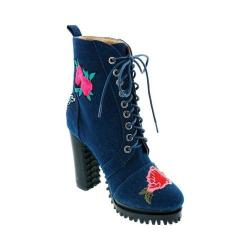 Women's Penny Loves Kenny Frank Floral Patch Combat Boot Blue Denim (More options available)