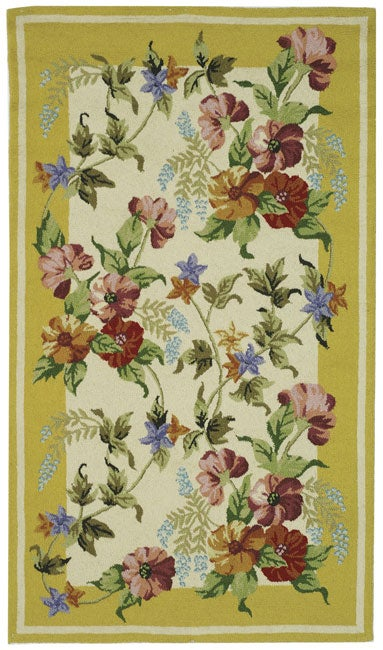 Shop Safavieh Hand Hooked Botanical Ivory Yellow Wool Rug