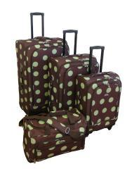 American Flyer 4-piece Ibiza Dots Spinner Luggage Set - Thumbnail 1