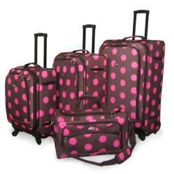 American Flyer 4-piece Ibiza Dots Spinner Luggage Set - Thumbnail 2