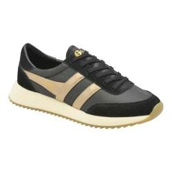 Women's Gola Montreal Mirror Trainer Black/Gold/Off White Nylon