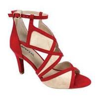 Women's Rialto Ria Cage Heel Red Suedette Fabric