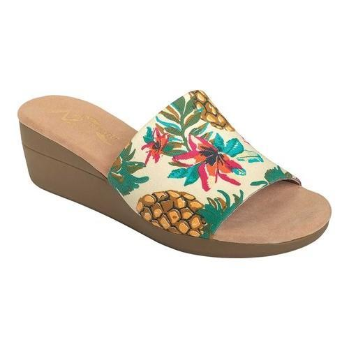 e5057feb2331c Shop Women s A2 by Aerosoles Sunflower Slide Sandal Bone Multi Painted  Pineapple Print Fabric - Free Shipping Today - Overstock - 20340684