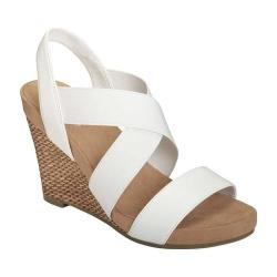 Women's A2 by Aerosoles Lotus Plush Wedge Sandal White Faux Leather/Elastic (3 options available)