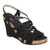 Women's A2 by Aerosoles Poppy Plush Strappy Sandal Black Faux Suede