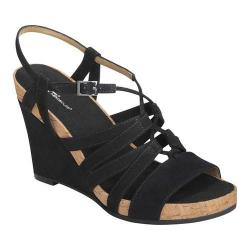Women's A2 by Aerosoles Poppy Plush Strappy Sandal Black Faux Suede (More options available)