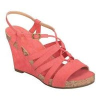 Women's A2 by Aerosoles Poppy Plush Strappy Sandal Coral Faux Suede