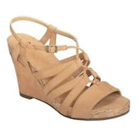 Women's A2 by Aerosoles Poppy Plush Strappy Sandal Light Tan Faux Suede