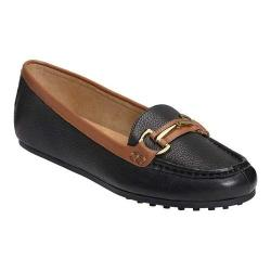 Women's Aerosoles Drive Along Loafer Black/Tan Combo Leather
