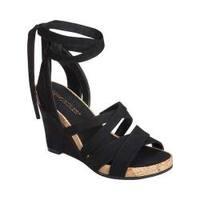 Women's Aerosoles Lilac Plush Ankle Tie Sandal Black Fabric