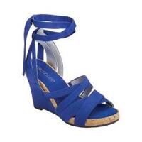 Women's Aerosoles Lilac Plush Ankle Tie Sandal Blue Fabric