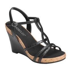 Women's Aerosoles Plush Song Wedge Sandal Black Snake Embossed Faux Leather (More options available)