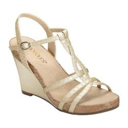 Women's Aerosoles Plush Song Wedge Sandal Gold Snake Embossed Faux Leather (More options available)