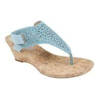 Women's White Mountain Alise Thong Sandal Light Blue Metallic