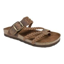 Women's White Mountain Hayleigh Toe Loop Sandal Brown Leather