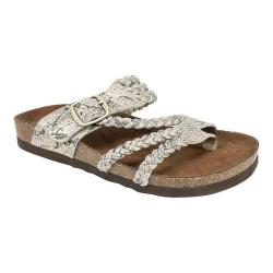 Women's White Mountain Hayleigh Toe Loop Sandal Gold Exotic