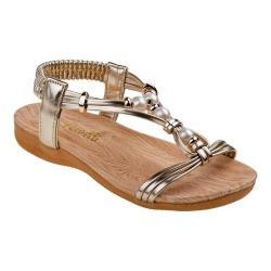 Girls' Petalia P79454S T Strap Sandal Gold Polyurethane
