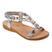 Girls' Petalia P79454S T Strap Sandal Silver Polyurethane