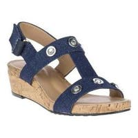 Women's Soft Style Oralee T-Strap Wedge Sandal Indigo Denim Synthetic