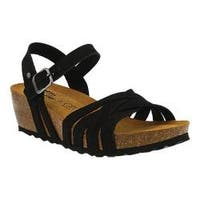 Women's Spring Step Eryn Strappy Sandal Black Leather