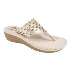 Women's Cliffs by White Mountain Cameo Thong Sandal Rosegold Metallic Synthetic (More options available)