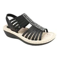 Women's Cliffs by White Mountain Cera Slingback Sandal Black Burnished Smooth