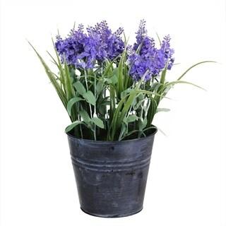 """12"""" Artificial Lavender Arrangement in Decorative Distressed Blue Pot"""
