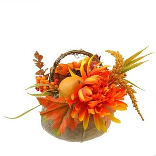 "9"" Autumn Harvest Burlap Pumpkin with Flowers and Fruit Thanksgiving Decoration"